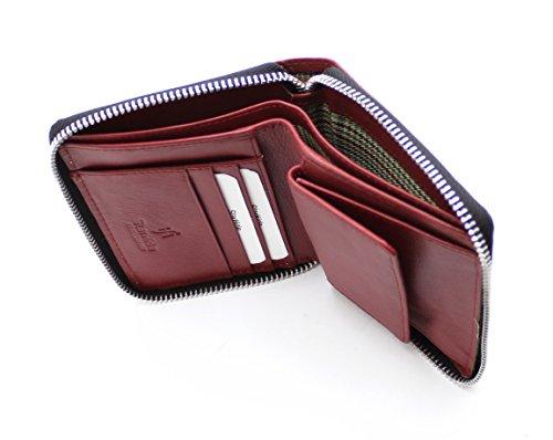 Starhide® femminile compatto vera pelle titolare della carta di credito portafoglio taschino zip borsa - regalo inscatolato # 5550 Rosso
