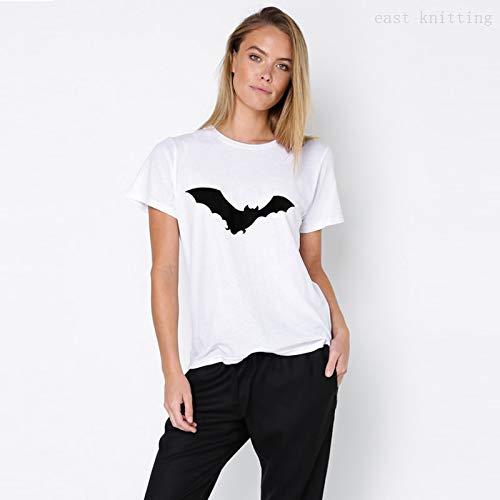 LIULINUIJ Frauen Einfache Weiße T-Shirts Für Halloween Fledermausdruck Kurzarmshirts