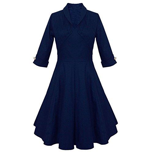 Pinkyee Damen A-Linie Kleid Marineblau