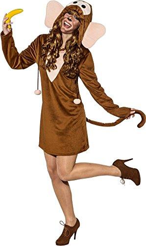 Faschingskostüm Damen Affen Kleid mit Kapuze (34/36) -