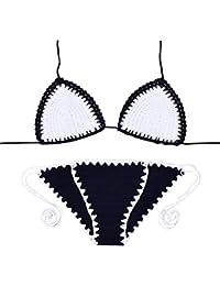 e5b9ecb5a21c VRTUR Donne Bikini Halter Uncinetto Push Up Lavorato a Maglia Costumi da  Bagno Coordinati Spiaggia Mare