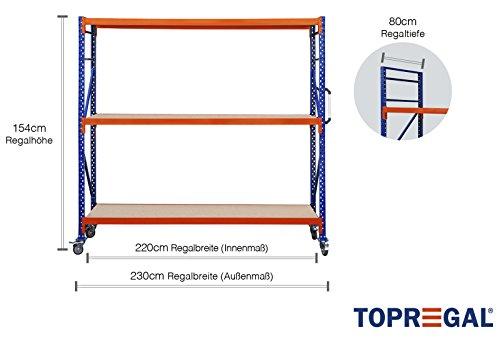 Fahrbares Schwerlastregal Lagerregal 2,3m breit, 80cm tief, Höhe 154cm Rollwagen