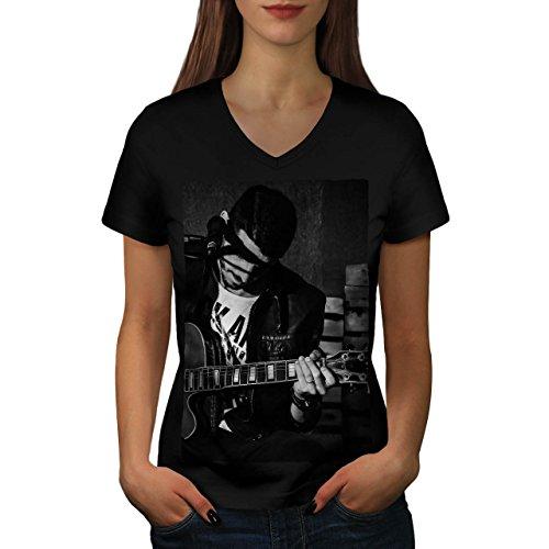 Künstler Musiker Kunst Musik Instrument Musik Damen S V-Ausschnitt T-shirt | Wellcoda