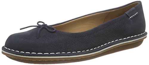 Clarks Tustin Talulah, Damen Mokassin, Blau (Navy Leather), 36 EU (3.5 Damen UK)