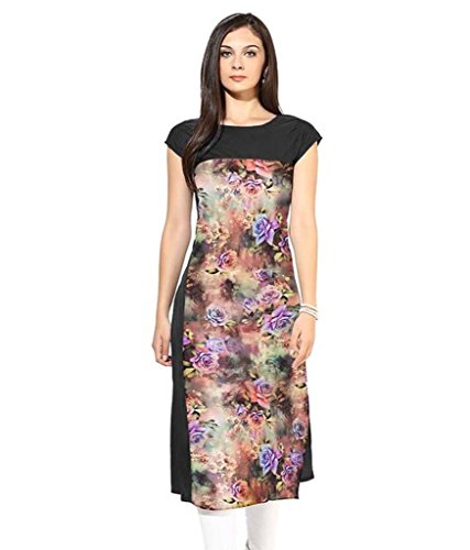 Velentino Trend Women Multicolor Floral Printed Crepe Kurtis VAT107 XL