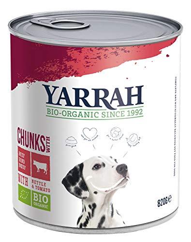 Yarrah Bio Hundefutter Bröckchen Huhn, Rind, Brennessel, Tomate, 820 g, 6er Pack (6 x 820 g)