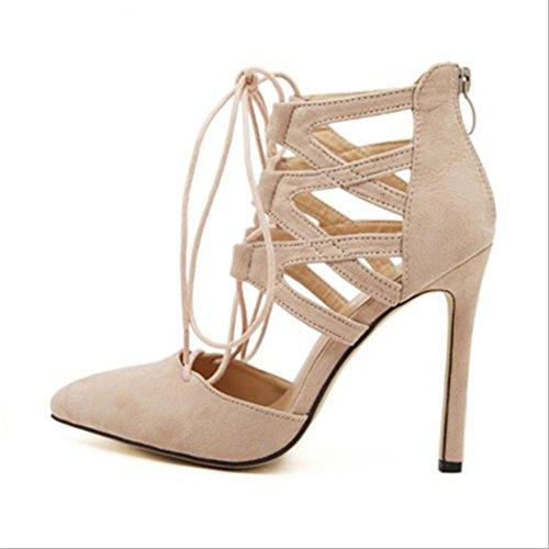 Sommer Europa und Amerika Cross Strap Flache High Heel Sandaletten,Nude,35 Strap Sexy High Heels