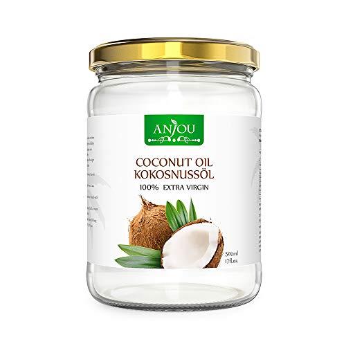 Glas Kokosmilch (Kokosöl Anjou Naturbelassen Kaltgepresst und Nativ für Haare, Haut, Gesundheit, Pflege, Küche, Backen Glasbehälter 500ml)