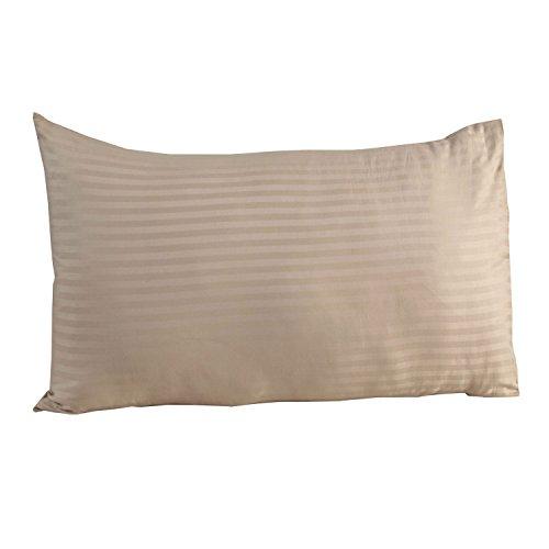 Homescapes Damast Kopfkissenbezug 40x80 cm taupe beige ägyptische Baumwolle Fadendichte 330