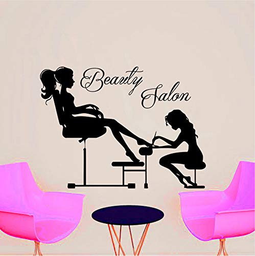 Beauty salon manicure estetista manicuring girl's toenail wall sticker pvc rimovibile home decor moda 44x49cm