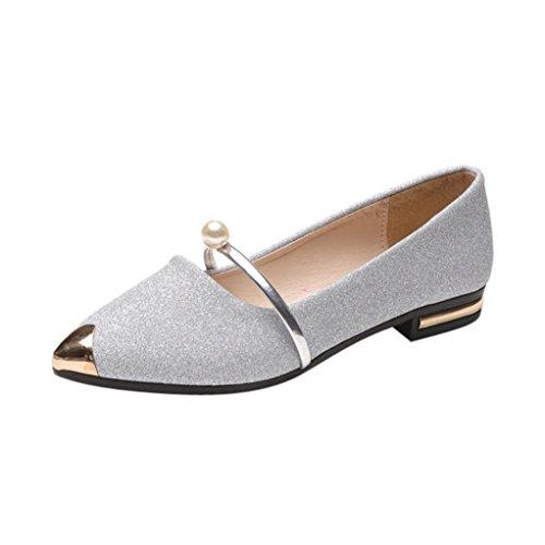 FNKDOR Geschlossene Ballerinas Damen Flache Pumps Elegant Schuhe Klassische Damenschuhe(37,Silber)
