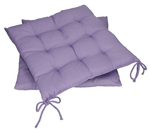 Betz Stuhlkissen Sitzkissen mit Bindebändern Holiday 40x40 cm Menge 2 Stück Farbe Flieder