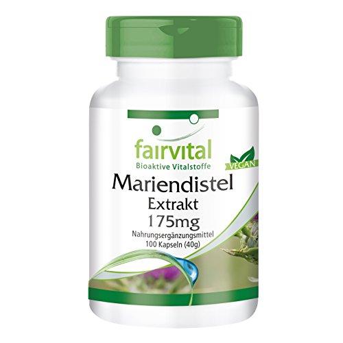 Mariendistel-Extrakt 175mg - für 1 Monat - VEGAN - 100 Kapseln - standardisiert auf 80% Silymarin