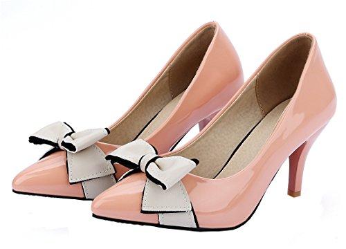 Spitz Schuhe High Office Elegante Schleife Damen Rosa Pumps Stiletto Mit Kitten Heels 7cm Ye Heel xptqgn