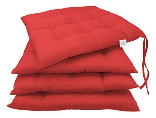 ZOLLNER 4er Set Stuhlkissen mit Bänder, 40x40 cm, rot (weitere verfügbar)