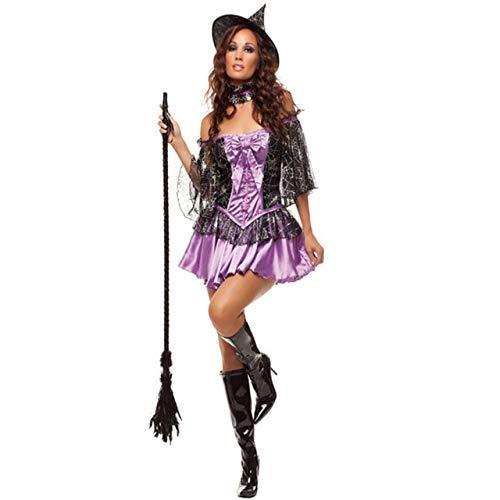 FHSIANN Erwachsene Frauen Halloween Sexy Deluxe Lila Märchen Hexe Kostüm Fantasie Party CosplayKostümMit Hut