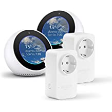 2 Amazon Echo Spot, blanco + 2 Amazon Smart Plug, compatible con Alexa