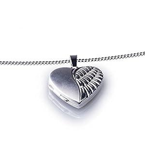 Anhänger Medaillon Herz zum öffnen 925/- Sterling Silber 20 x 20 mm, Panzerkette inkl. Gravur