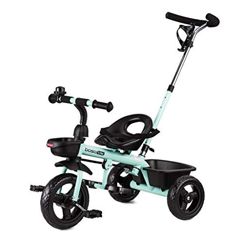 XP Kinderwagen-Baby Trolley Vorderrad Kupplung Widen Light Radnabe Fahrrad Doppel-Bremse Single Push Rod mit Korb gefalteten Pedal Baby Bike,Blau -