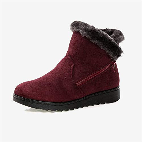 LOVEYOUYUE Schnee Stiefel for Frauen Warme Zip-Plattform Wildleder Wedge Ankle Boot Komfort Freizeitschuhe (Color : Wine red, Größe : 8.5) - Wildleder Wasserdicht Fashion Stiefel