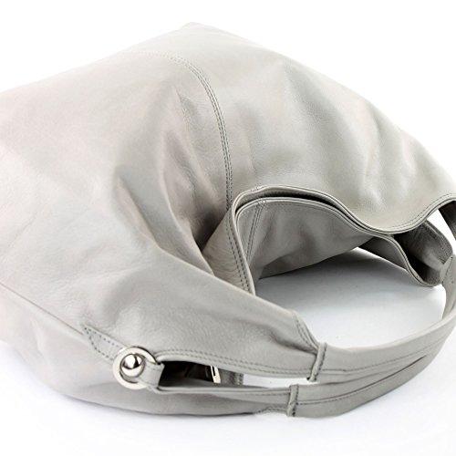 modamoda de - ital. Ledertasche Damenhandtasche Schultertasche Damentasche Nappaleder DS26 Hellgrau