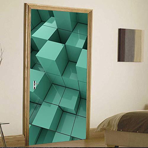3D türaufkleber bad - Ziegel Tür Bild Wandbild Sickers Tür Aufkleber Wallpaper Decals Home Decoration - DIY Druck Vinyl Abnehmbare