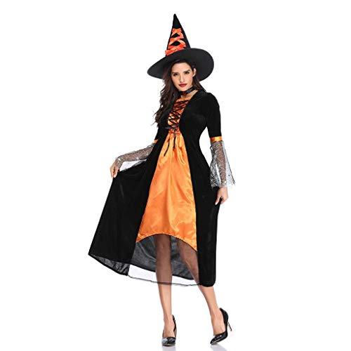 Teufel Kostüm Selbstgemacht - LOPILY Kostüme Damen Retro Spitze Hexenkostüme Halloween mit Hut Faschingskostüme Damen Karneval Kleidung Teufel Kostüme Gruselige Erwachsenenkostüme Cosplay Party (Kleid+Mütze) (Gelb, 34)
