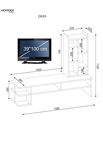 DUO Wohnwand – Weiß / Nussbaum – TV Board / Lowboard in modernem Design - 5