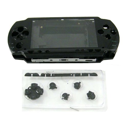 OSTENT Full Housing Reparatur Mod Case + Tasten Ersatz Kompatibel für Sony PSP 1000 Konsole Farbe Schwarz