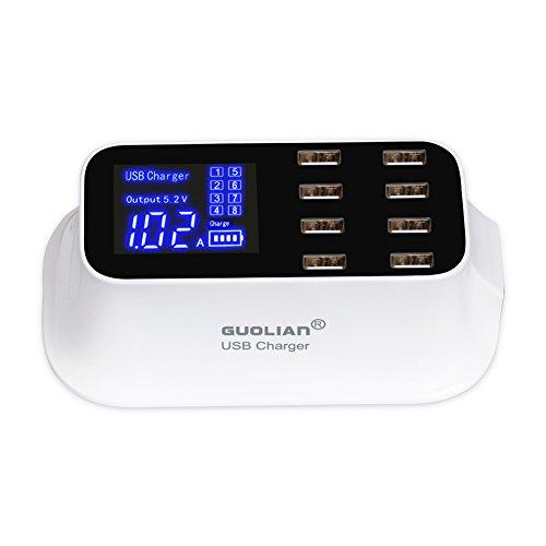 GUOLIAN Intelligent USB Ladegerät 8 Port mit LCD-Bildschirm Anzeige Multi-Port USB Universal Netzteil 5V Schneller Laden für iPhone, iPad, Samsung Tablets, Reisen, Haus,Büro