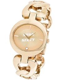 Miss Sixty P895.10MC - Reloj analógico de mujer de cuarzo con correa de acero inoxidable dorada - sumergible a 10 metros