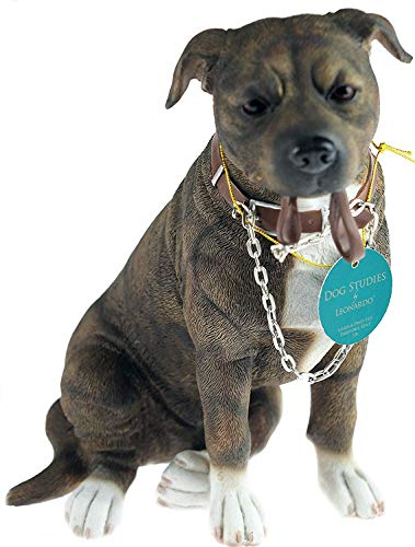 Walkies 19 cm Staff - Brown Staffordshire Bull Terrier Dog Ornament Figurine by L&P -