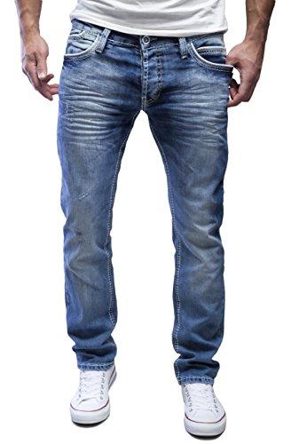 AMICA by MERISH Herren Jeans Straight Fit Destroyed Blue Jeans Blau