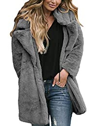 162c9c1845676 Aleumdr Womens Cozy Long Sleeve Open Front Lapel Faux Fur Fluffy Tops Jacket  Coat Outerwear with