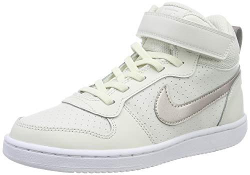 Bronze Metallic Kid Schuhe (Nike Mädchen Court Borough Mid Basketballschuhe, Mehrfarbig (Phantom/MTLC Red Bronze-White 007), 34 EU)