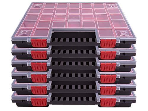 6er SET Sortimentskasten Kleinteilemagazin Sortierbox groß mit Deckel Sortierkasten Sortierkoffer Werkzeugbox Sortimentskoffer Sortimentsbox Organisationsbox Kasten mit herausnehmbaren bunten Fächern