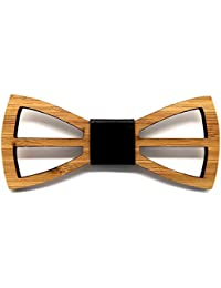BOBIJOO Jewelry - Hombre Pajarita Madera estética Natural bambú Chic Moderno de Cuero Hecho a Mano