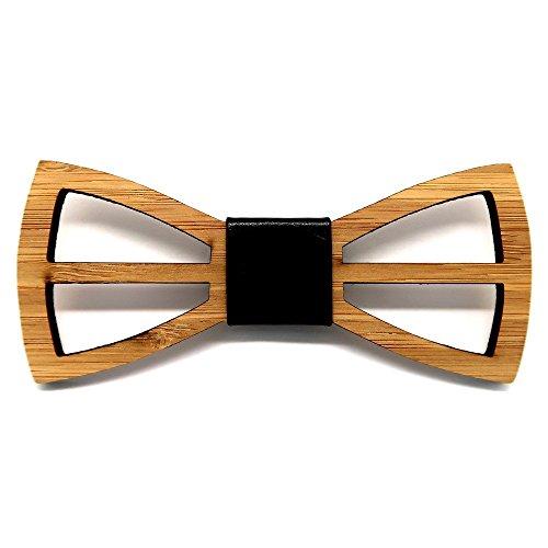 BOBIJOO Jewelry - Noeud Papillon Bois Bambou Homme Chic Naturel Esthétique Moderne Fait Main Cuir