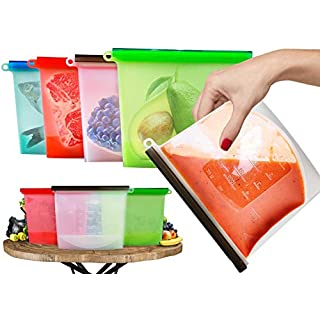 Reusable Food Bags 2018 UK Generation Made from Vacuum Leakproof Washable Silicone Perfect to Storage Fresh Meat Fruit Soup and Vegetables Sealed Ziplock Bag Used Microwave Freeze Preserve (1L 4 Pack)