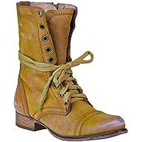 Tacón Bajo Botas de Punta Redonda para Mujeres Retro Otoño Invierno Casual Zapatos con Cordones Mujer