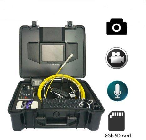 mabelstar 50m Glasfaser Schubstange Schlange Kanalisation Rohr Inspektionskamera mit 20,3cm LCD-Bildschirm und Tastatur Funktion (Schlange 50 Meter)