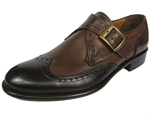 GIORGIO SCARPE Monk Strap Budapester Leder Schuh Ledersohle 1424 Handgenäht grau-schwarz/whisky Whisky