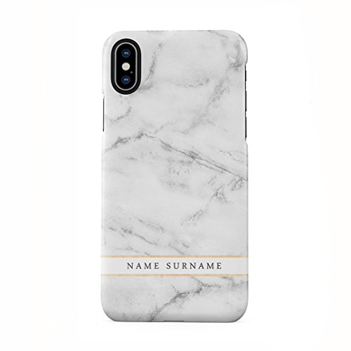 Personalised Customizable First and Last Name Initiale Text Custom Weiß Marmor Schutzhülle aus Hartplastik Handy Hülle für iPhone X, iPhone XS Case Hard Cover