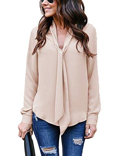 Yallmarket Chiffon Bluse Damen Elegant Sexy V Ausschnitt Oberteil Loose Vintage Langarm Shirt Asymmetrisch Frauen Hemd Khaki S