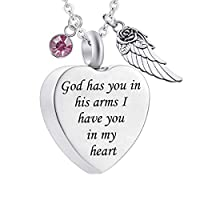 BIGU Heart Cremation urn Necklace with Angel Wing Carved Locket Keepsake Ashes Urn Jewelry with Birthstone Crystal Stainless Steel Waterproof Memorial Pendant with Fill Kit October