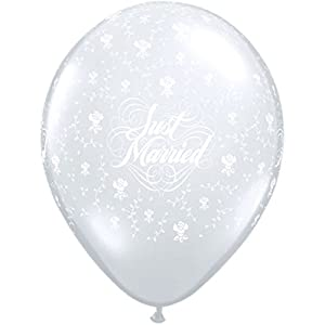 """Qualatex globos de látex de diamantes 39242flowers-a-round""""Just Married, claro, 40,6cm, 50unidades)"""