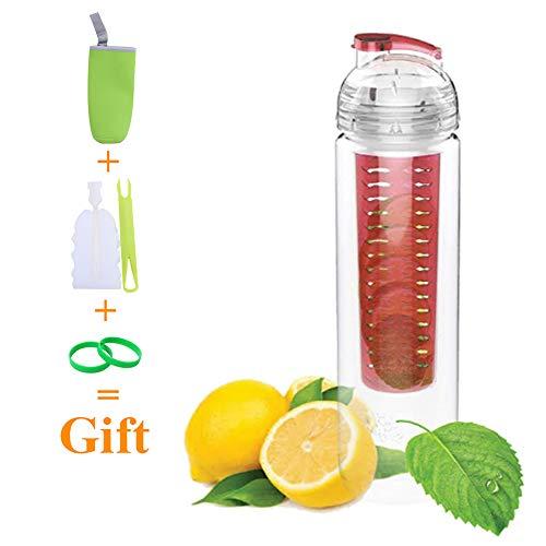 YZEO Wasserflasche mit Frucht-Infuser, 28oz auslaufsicher, Sport-Wasserflasche, BPA-frei, mit Isoliertasche, Reinigungsbürste, Silikon-Armband für Outdoor, Camping, Workout