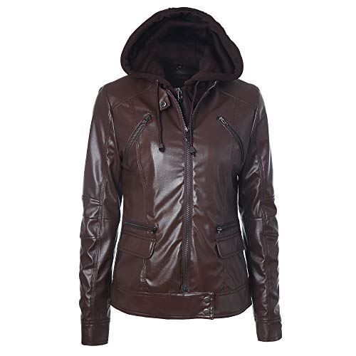 TWBB Damen Hoodie,Winter Verdicken PU Windjacke Wintermantel Lange Frauen  Einfarbig wintercoat d0c7a1a007