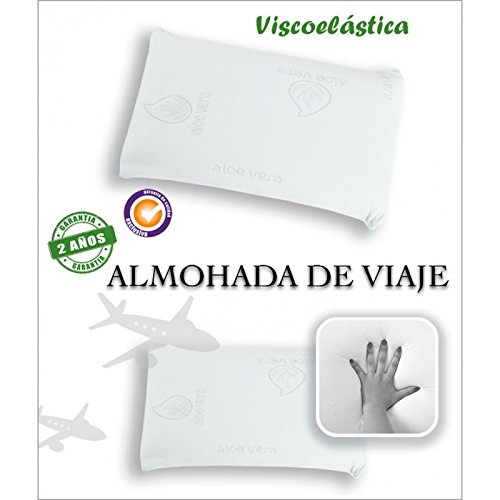 Sabanalia - Almohada de Viaje, Viscoelástica, color blanco, 23x42x10 cm