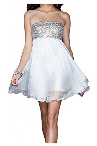 Toscane mariée fashion traegerlos abendkleider court heimkehr robe de soirée en chiffon à cocktail Blanc - blanc